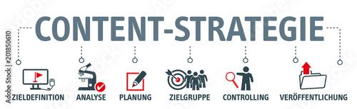Fototapety, obrazy: Banner Content-Strategie - Vektor Konzept mit icons
