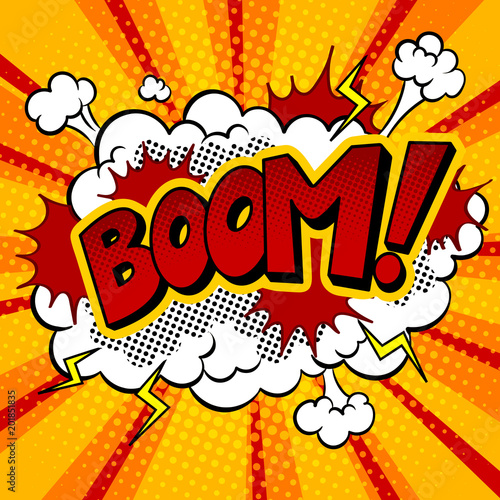 Tablou Canvas Boom word comic book pop art vector illustration
