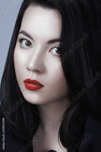 Young Adult Sexy Lady With White Skin Red Lips And Black Straight