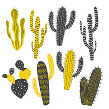 Mustard And Charcoal Cactus An...