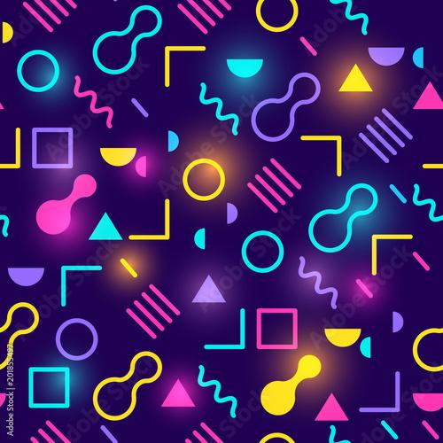 A glowing neon retro 1980s seamless pattern design. Vector illustration.