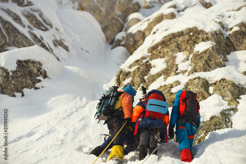 Poster Alpinisme Group mountaineers on a background of snow-covered rocks, rear view.