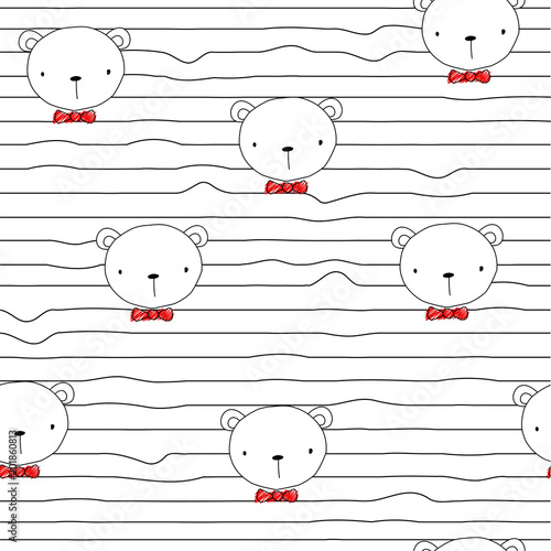 Tela  Seamless pattern with funny bear and red bow tie