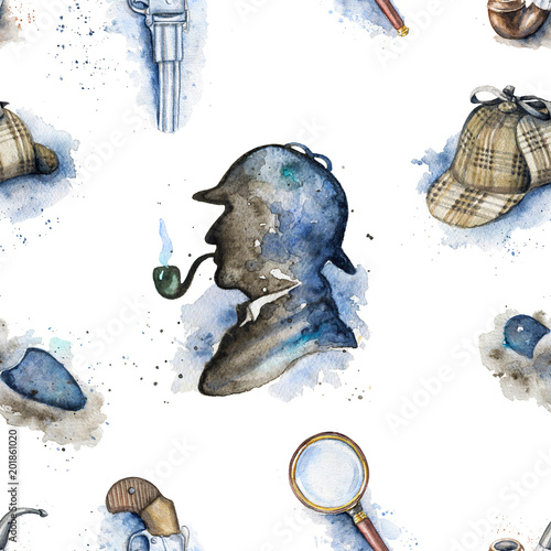 Photo  Seamless vintage pattern with hat, smoking pipe, pistol, footprint and silhouette of Sherlock Holmes on white background