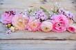 canvas print picture - Grußkarte - Frühlingsblumen - Blumenstrauß rosa nostalgisch
