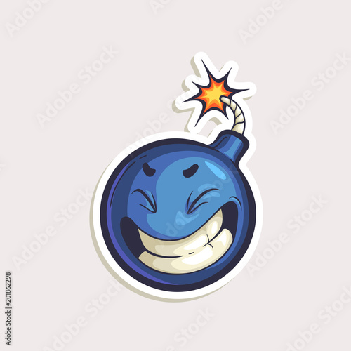 Vector color sticker with funny bomb with burning wick in comics style isolated on white. Hand drawn cartoon character in panic.