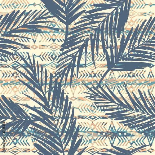 Foto auf AluDibond Boho-Stil Tribal ethnic seamless pattern with palm leaves.