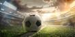 Leinwandbild Motiv Sport. Soccer ball on stadium. Football poster.