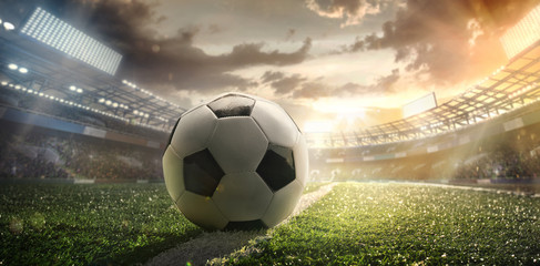 Sport. Soccer ball on stadium. Football poster.