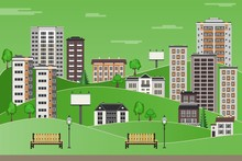 Green Paper City Landscape With High-rise Apartment Houses And Office Buildings, Trees And Benches In Public Park On Sky Background With Clouds. Flat Colorful City Skyline. Vector Illustration.