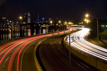 Tail Light And Head Light Trails Leading To The City Of Perth Australia.