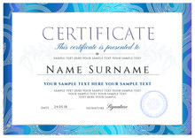 Certificate, Diploma Of Completion (design Template, White Background) With Frame, Blue Border, Light Floral Abstract Lines (pattern, Watermark)