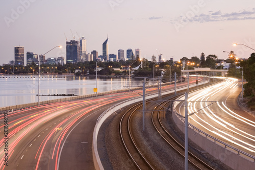 The freeway leading in to Perth City, Western Australia.
