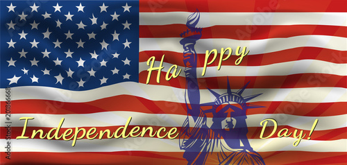 29ed615057fa Happy Independence Day - a poster with the US flag. Patriotic background  with US symbols