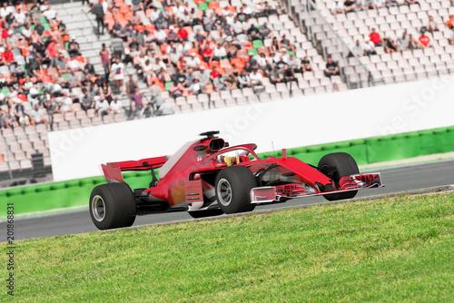 Fotografia, Obraz  Formel Rennwagen vor Publikumstribüne