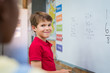 canvas print picture Boy doing math sum
