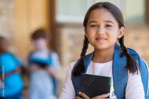 Obraz Elementary girl at school - fototapety do salonu