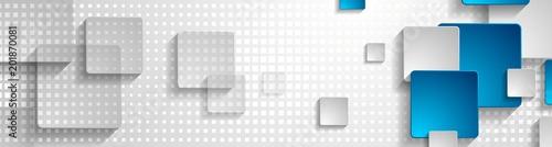 Fototapeta Grey blue abstract geometric banner design obraz