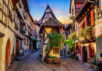 Colorful half-timbered houses in Eguisheim, Alsace, France