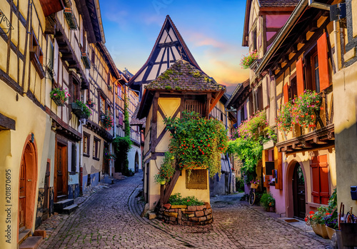 Colorful half-timbered houses in Eguisheim, Alsace, France Wallpaper Mural