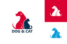 Dog And Cat Logo Template Design Vector, Emblem, Design Concept, Creative Symbol, Icon