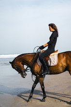 Side View Of Female Equestrian...