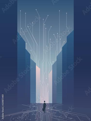 Fotografia  Smart city vector concept background with IT specialist, developer, programmer