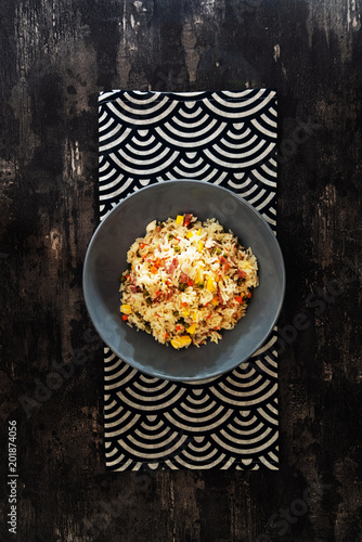 Photo  Cantonese fried basmati rice with ham and eggs