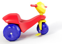 A 3d Illustration Of A Plastic Tricycle Toy