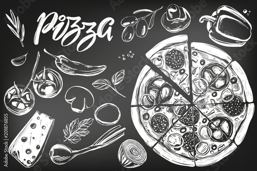 Photo Italian pizza , collection of pizza with ingredients, logo, hand drawn vector il