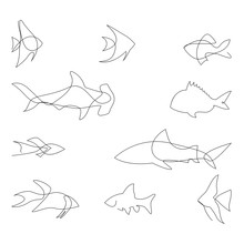 One Line Fish Design Silhouette. Logo Design. Hand Drawn Minimalism Style Vector Illustration.