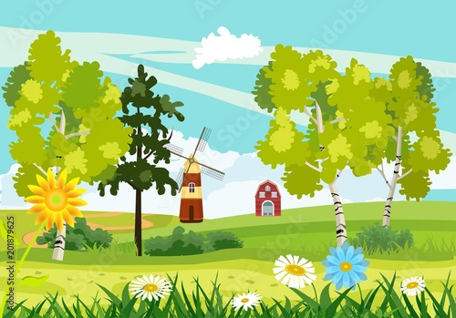 Foto op Canvas Pistache Flat countryside view, green hills and mountains, summer season, houses and windmills, blowing flowers, trees, vector landscape