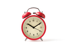 Red Vintage Alarm Clock On Whi...