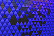 canvas print picture - Dark blue black abstract 3D minimalistic geometrical background of triangles
