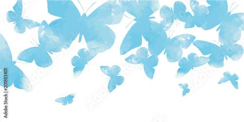 Fotografie, Obraz  Background with watercolor butterflies blue