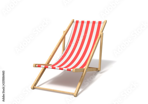 Vászonkép 3d rendering of a white red deckchair isolated on a white background