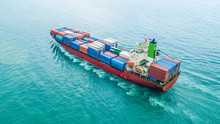 Aerial Top View Container Carg...