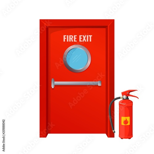 Red fire exit with round circle and extinguisher Wall mural