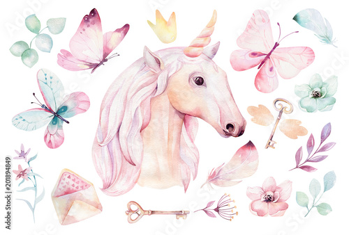 Obraz na plátně Isolated cute watercolor unicorn clipart with flowers