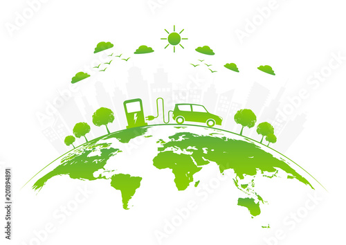 Foto  Ecology freindly with electric car,vector illustration
