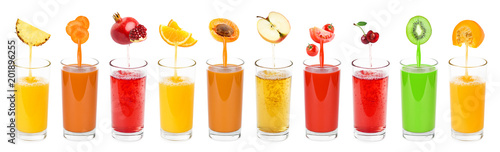 Foto auf Leinwand Saft Collection of fresh juices