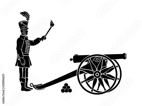 hussar and gun Canvas Print