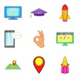 Soft app icons set. Cartoon set of 9 soft app vector icons for web isolated on white background