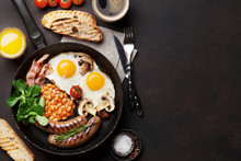 English Breakfast. Fried Eggs,...