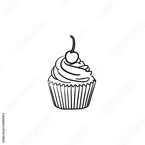Cupcake hand drawn outline doodle icon Canvas Print