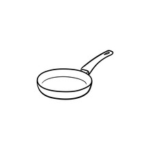 Frying Pan Hand Drawn Outline Doodle Icon. Pan For Frying Food On Heat Vector Sketch Illustration For Print, Web, Mobile And Infographics Isolated On White Background.