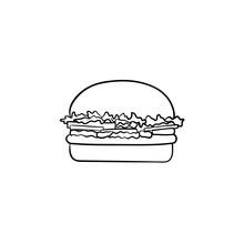 Burger Hand Drawn Outline Dood...