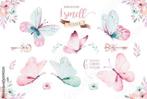 Watercolor colorful butterflies, isolated on white background Wallpaper Mural