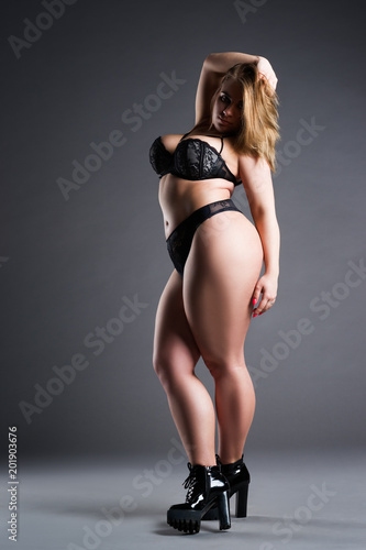 Size Sexy Model Black Lingerie Fat Woman Gray Studio Background Stock Tnaflix 1