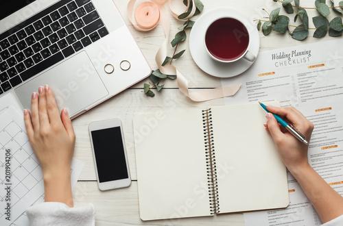 Obraz Bridal background with planner checklist - fototapety do salonu